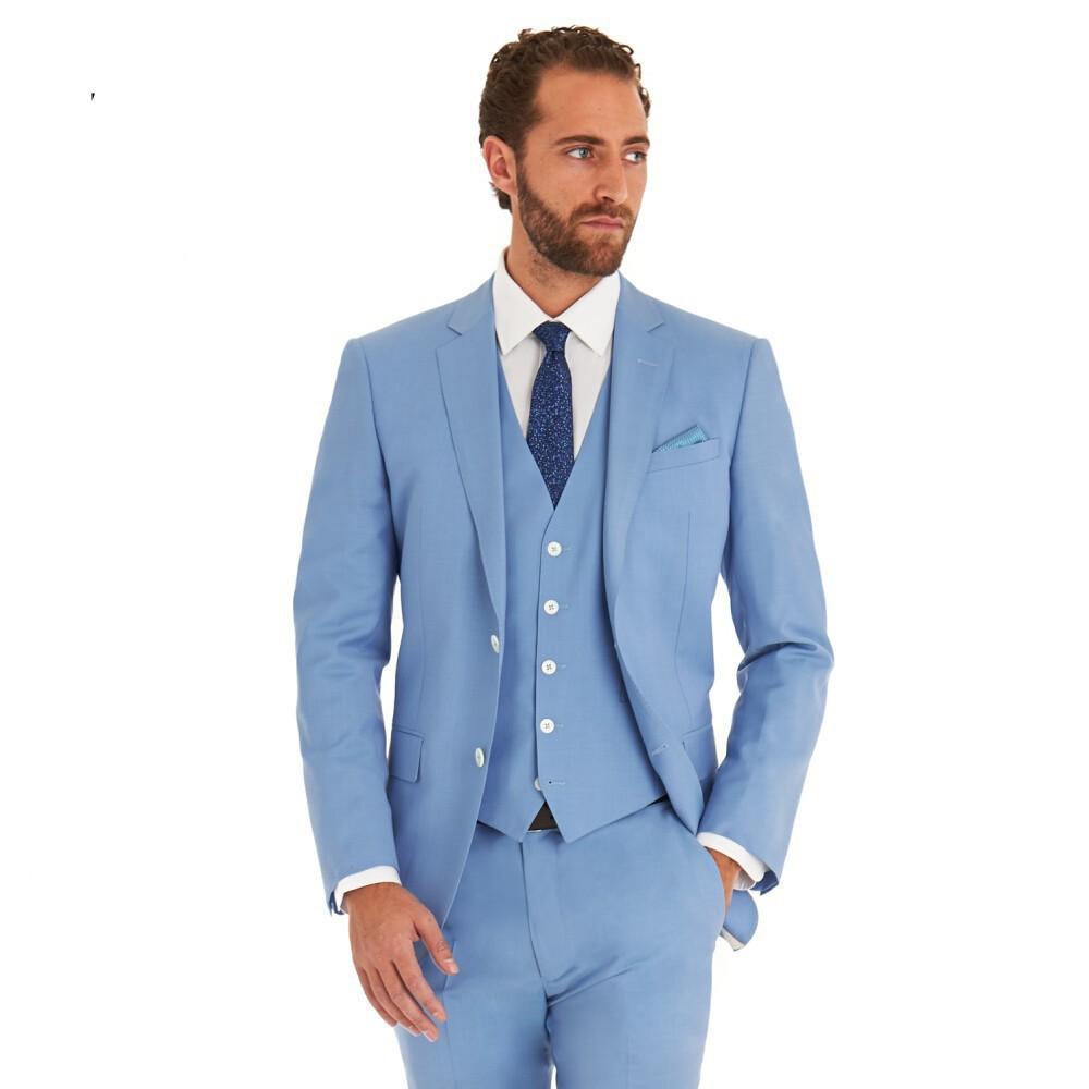 HB075 Vente Chaude Ciel Bleu Des Hommes D\u0027affaires Costumes 3 Pièces (veste  +