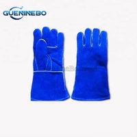 GNBWG-01 High Quality Reinforced Palm Blue Cow Leather Welding Professional Gloves