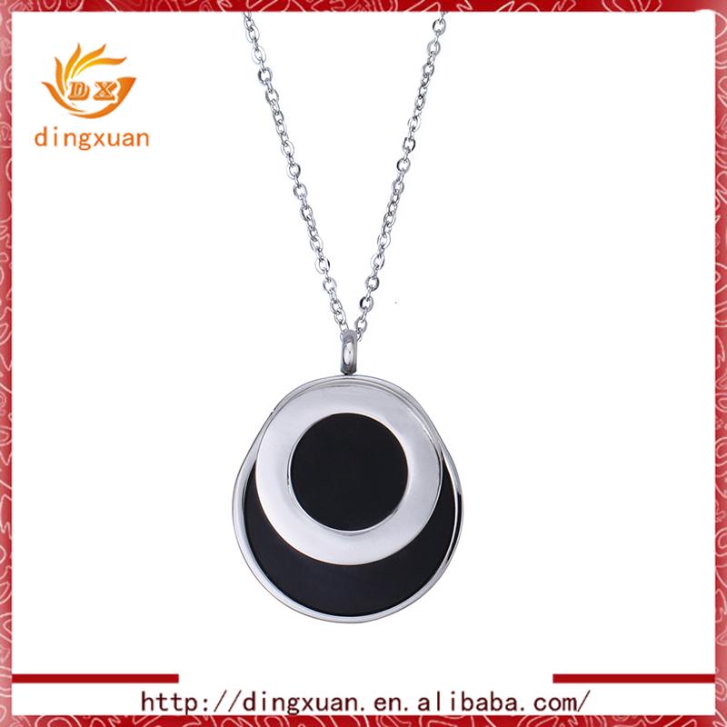 Vintage Stainless Steel Black Necklace Quantum Stone Pendant