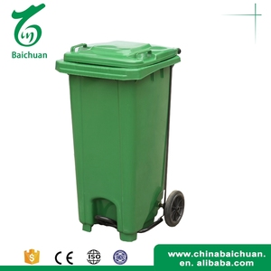 Used best dustbin type outdoor waste bins pedal garbage container with wheels 120l