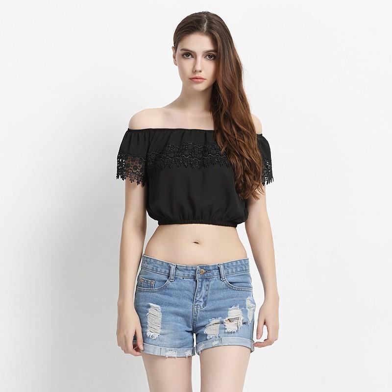 Cotton Crew Neck Womens Sweater Wholesale Plain Black Off Shoulder