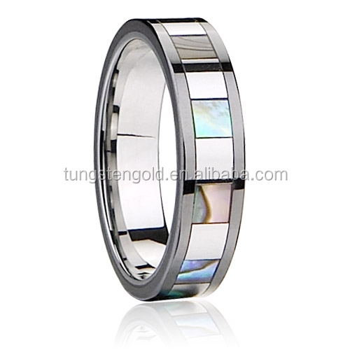 Shell Jewelry Tungsten Carbide Ring with Several Small Squared Areas Shells Inlaid Wedding Ring Polished Shiny TGTU145