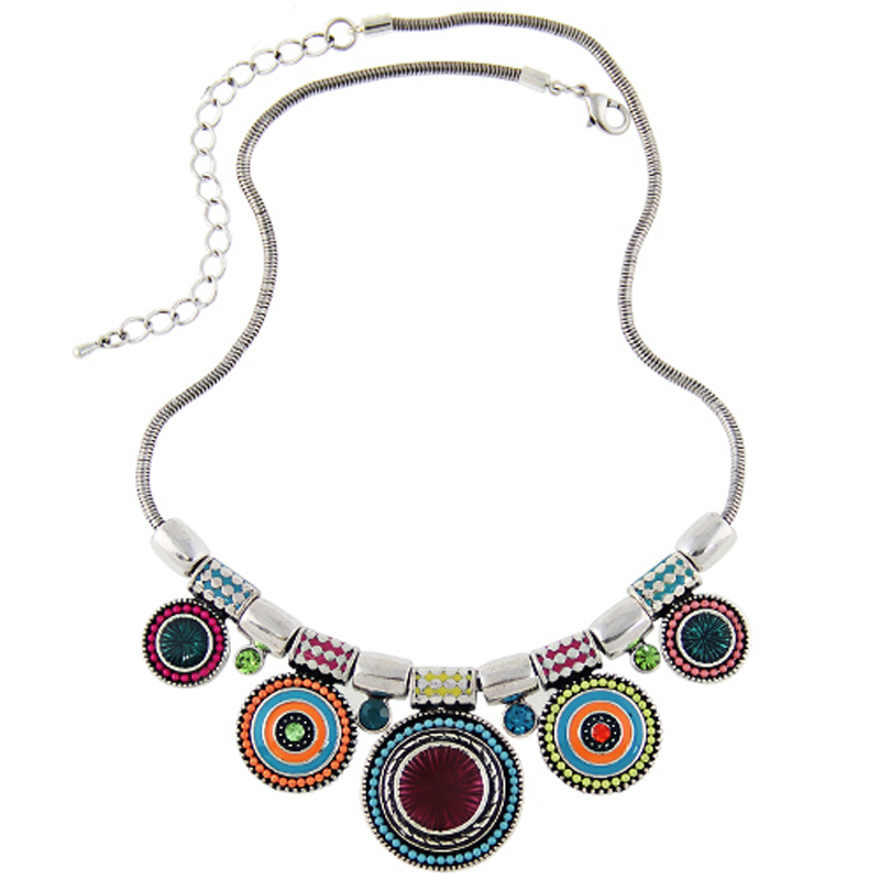 2016New Choker Necklace Fashion Ethnic Collares Vintage Silver Plated Colorful Bead Pendant Statement Necklace For Women