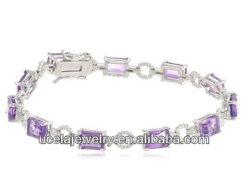 925 Sterling Silver Octagon Shape purple Amethyst Tennis Bracelet
