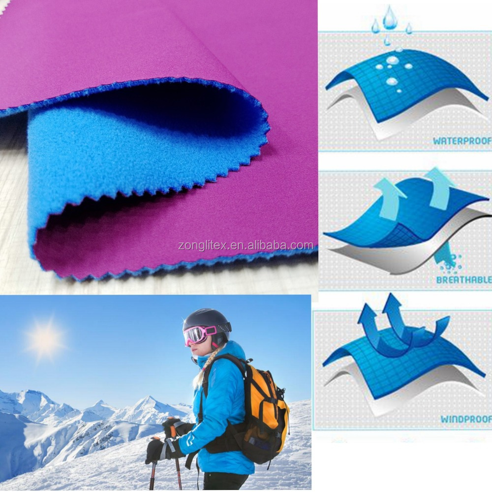 waterproof breathable 3 layer tpu softshell fabric for jacket outdoor