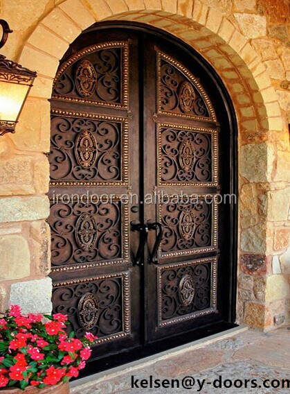 Wrought Iron Double Entry Door With Solid Back Or Operable