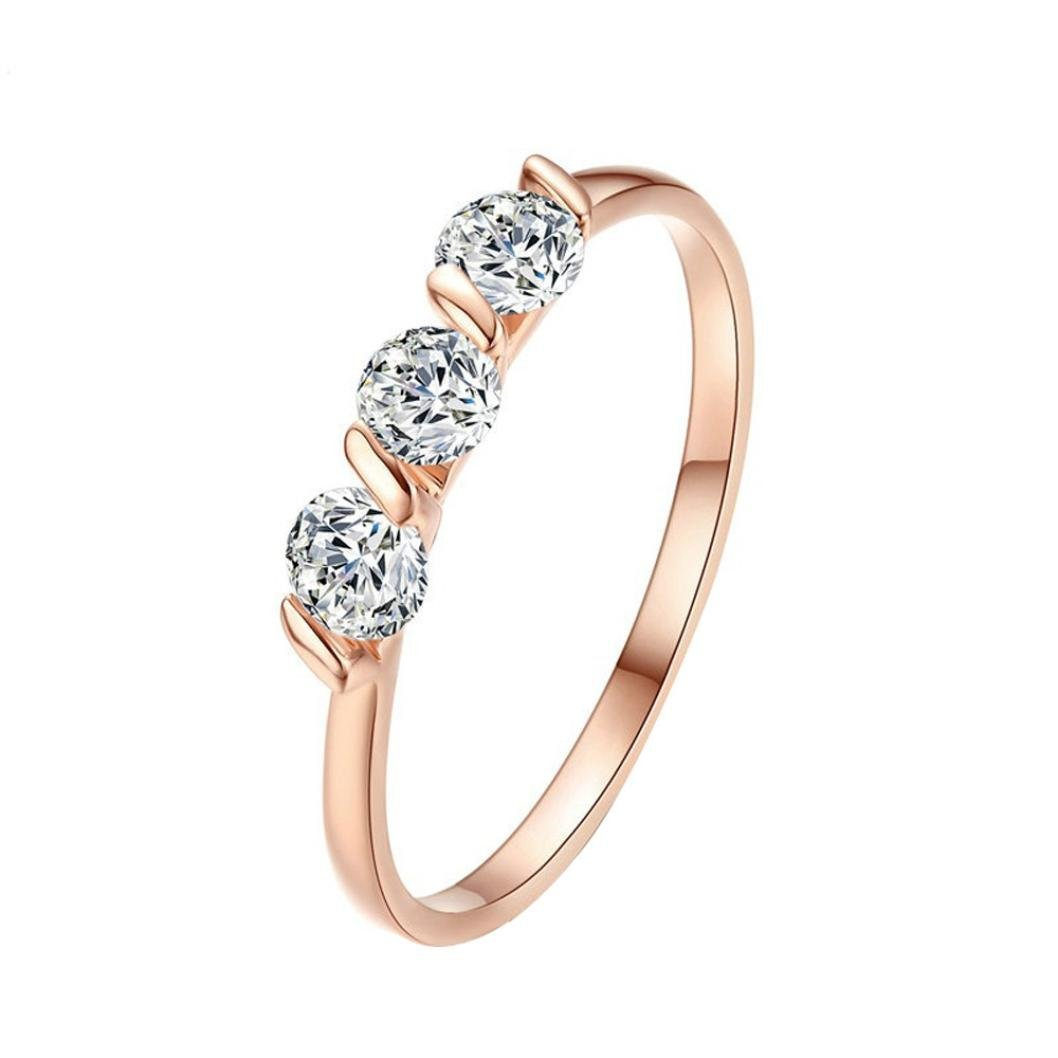 AutumnFall Women Fashion Wedding Engagement Ring Silver Plated Alloy Crystal Jewelry Rings 3# (Size 6, Rose Gold)