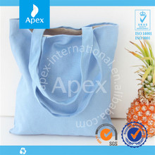 Sky blue cotton fabric shopping bag wholesale