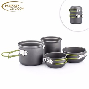 Outdoor Camping Cookware Set 4 Pieces, Lightweight Cooking Pot Pan Bowl Set Camping Cookware Mess Kit for Camping