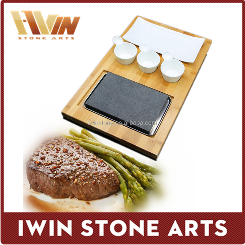 Natural bbq cooking stone grill plate,restaurant steak plate lava stone grill plate for hotel supplies