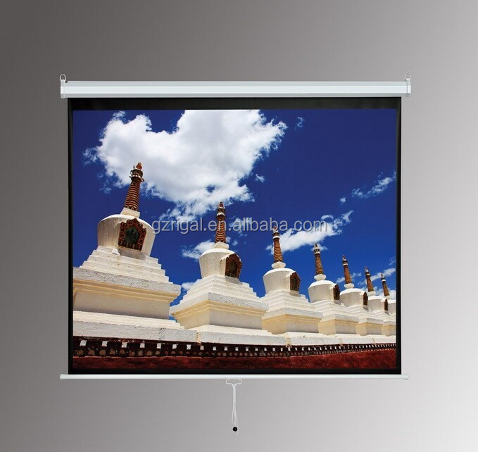 72'' 4:3 Manual Screen with self-lock system projection screen / Wall & Ceiling mounted pull down matt white