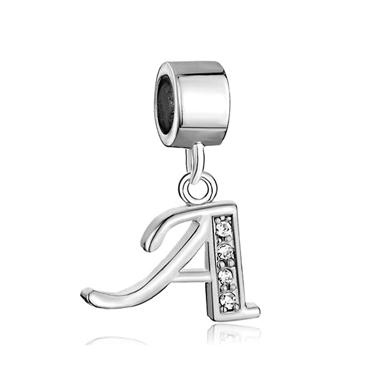 c9fffd3e0 Charmed Craft Alphabet A-Z Letter Charms Spacer Dangle Crystal Charms Beads  for Snake Chain Bracelets