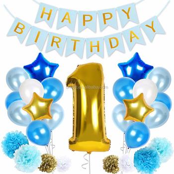 UMISS Blue White Gold Baby Shower 1st Happy Birthday Boy Decoration Kit Giant Number One