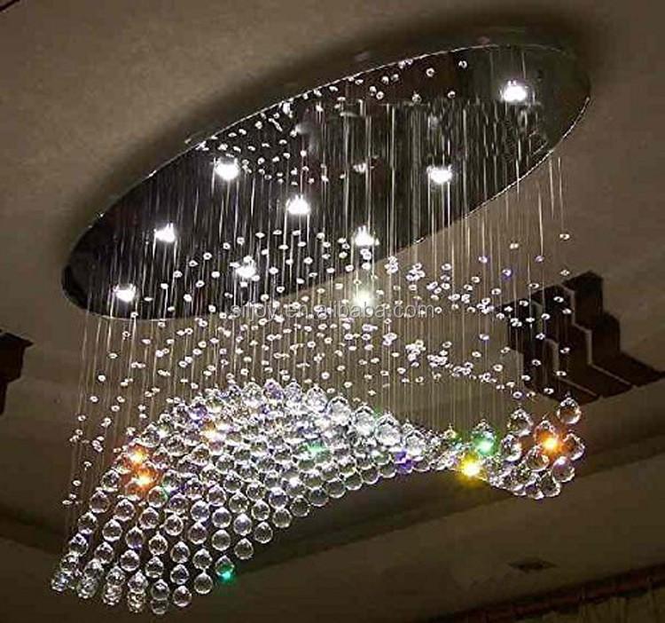 Moderno Onda Ovale Goccia di Pioggia LED K9 Lampadario di Cristallo ...