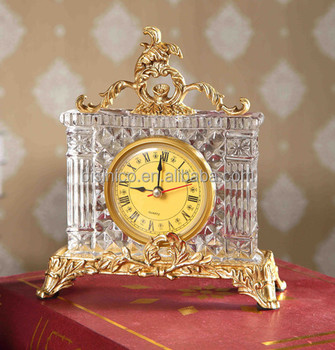 Italian Style Home Decorative Table Clock, Classical Brass With Crystal Desk  Clock (BF01