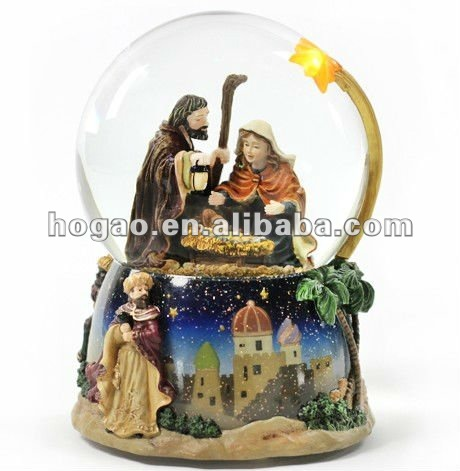 Music Box Nativity Water Globe with Lighted Star