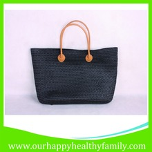 Black PP Plastic Straw Hand Knitted Woven Beach Tote Bags
