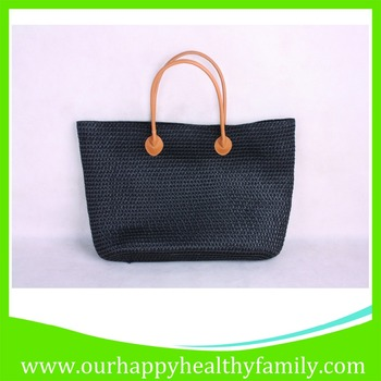 Black Pp Plastic Straw Hand Knitted Woven Beach Tote Bags - Buy ...