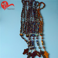 Wholesale 8mm beads holy rosary photo centerpiece rosaries necklace