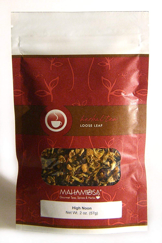 Mahamosa High Noon Tea 2 oz, Herbal Herb Tea Blend (with lemon peel, orange peel, hibiscus, rose hips, marigold flowers, orange, vanilla)