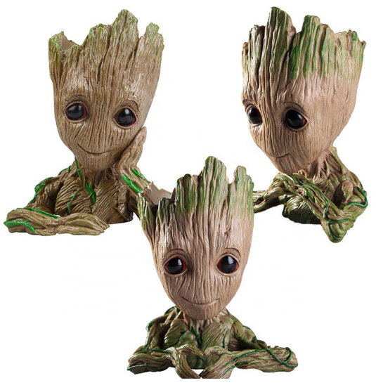 Fábrica personalizar estatueta groot bonsai pen holder Anime figura brinquedos