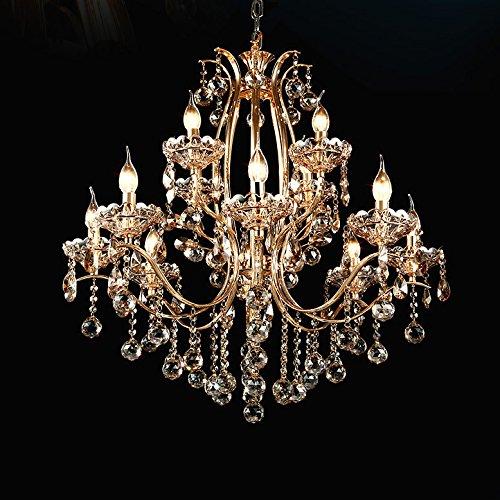Vintage Golden Teak Crystal Chandelier Lighting Ceiling Light Fixture in Shiny Gold 4 Sizes (12-Light)