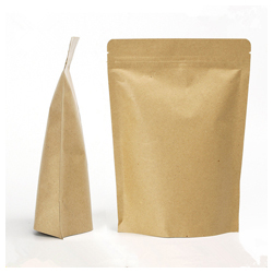 Food grade snack bag brown stand up zipper pouch in china