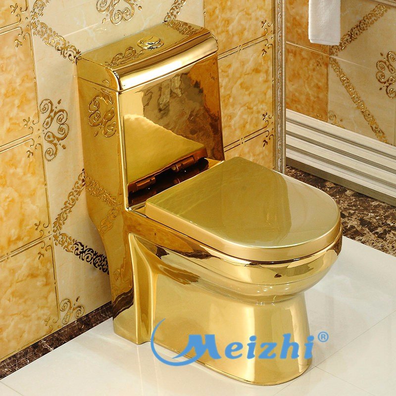 M-8012 Sanitary bathroom one piece gold plated toilet