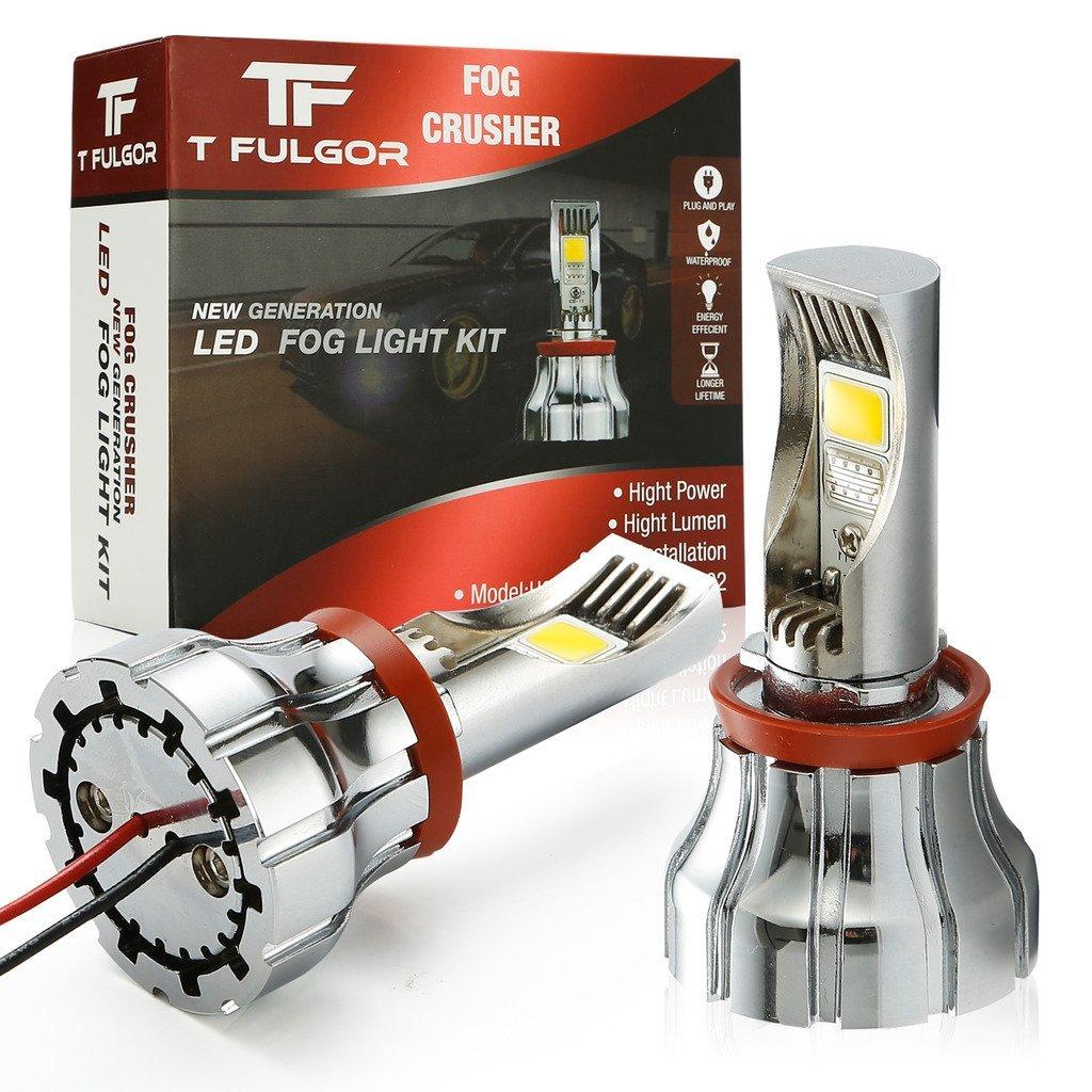 T FULGOR Fog Crusher Extremely Bright LED Daytime Running light, DRL, fog light Bulbs, CANBus Error Free, 6000K, 1200 lumens, Golden Yellow light, Pack of 2(H8,H11 Golden Yellow light)