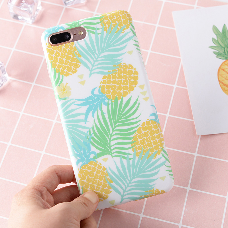 2017 Summer Pineapple Strawberry Leaves Matte Soft TPU Full Cover Phone Case for iPhone