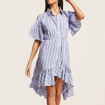 2acb77d488eb Loose Fitting Short Sleeve Clothing Blouse Woman Casual Stripe High Low T Shirt  Dress