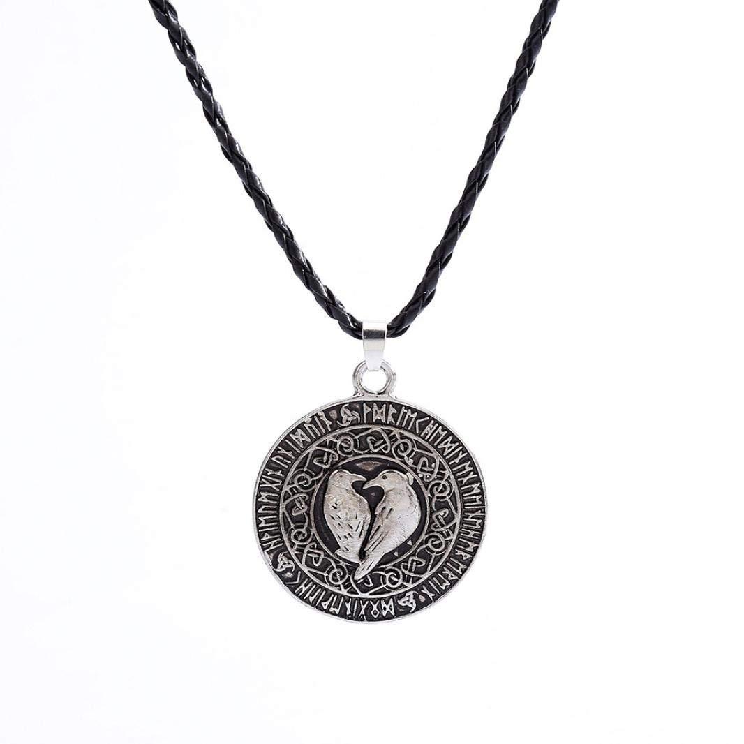 Quaanti 1pcs Norse Vikings Pendant Necklace Valknut Raven RUNE PENDANT Knot Viking Amulet Pendant Necklace Nordic Talisman (Silver)