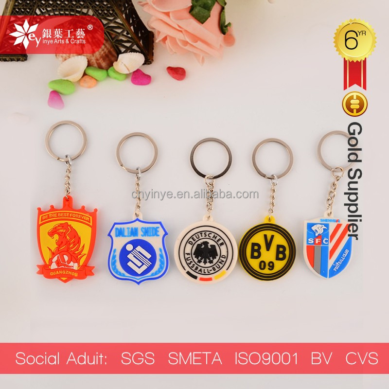 various countries football team 3d keychain soft pvc keychain rubber key chain