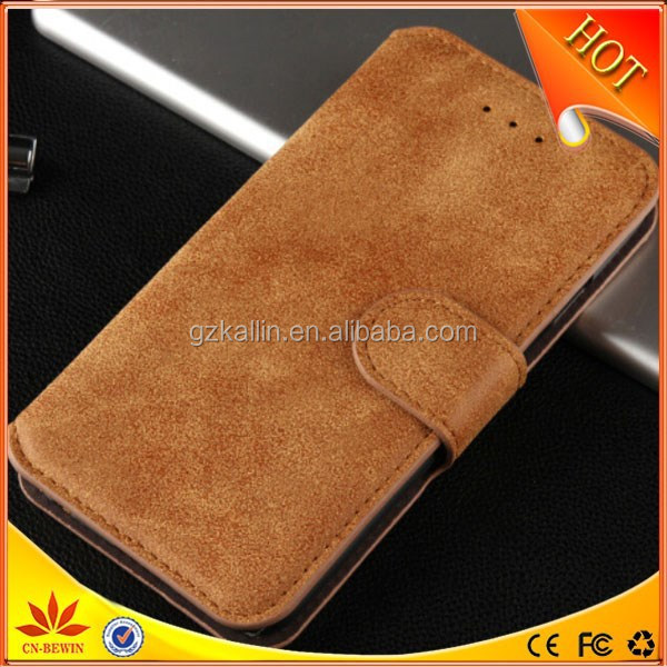 vintage style dull polish wallet stand leather case for iphone6