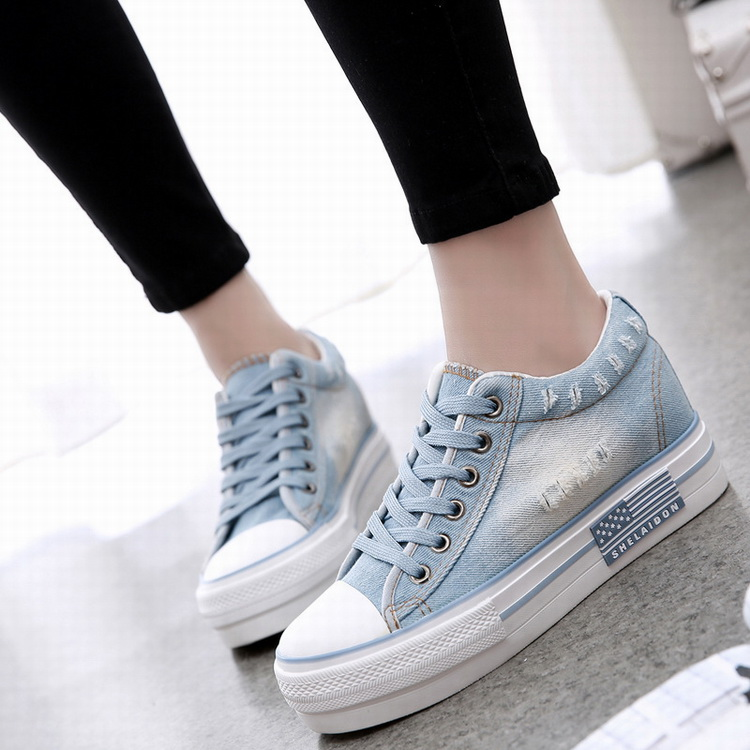 2016 hot sell new model women jeans lace-up canvas <strong>shoes</strong>
