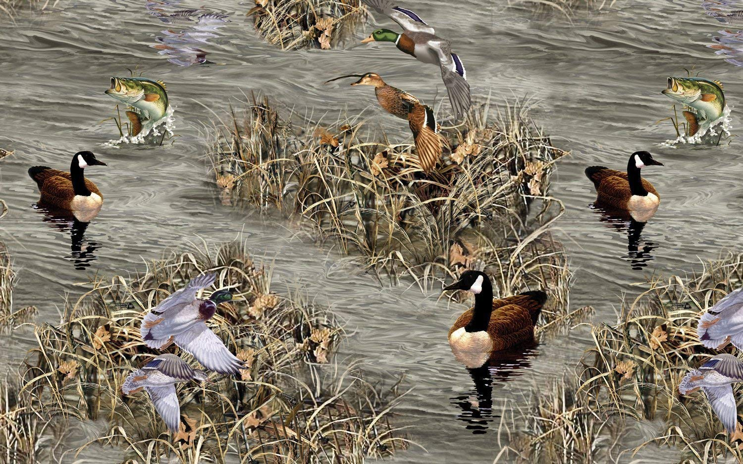 """1 Yard Pre-Cut - Realtree """"Down by the Lake"""" Ducks, Geese & Fish on Lake Scene 100% Cotton Fabric (Great for Quilting, Sewing, Craft Projects, Throw Pillows & More) Pre-Cut 1 Yard X 44"""""""