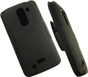 NAKEDCELLPHONE'S BLACK RUBBERIZED HARD SHELL CASE COVER + BELT CLIP HOLSTER w/ STAND FOR LG G PRO-2 F350 D838