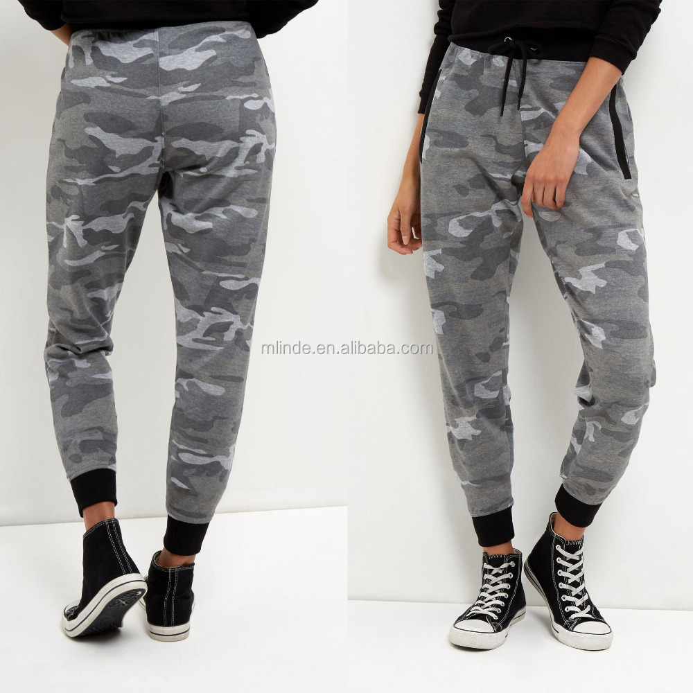 2017 Fashion Military Style Pants Camo Printed Pencil Pants Drawstring Waist Trousers Women Joggers Clothing Joggers Pants