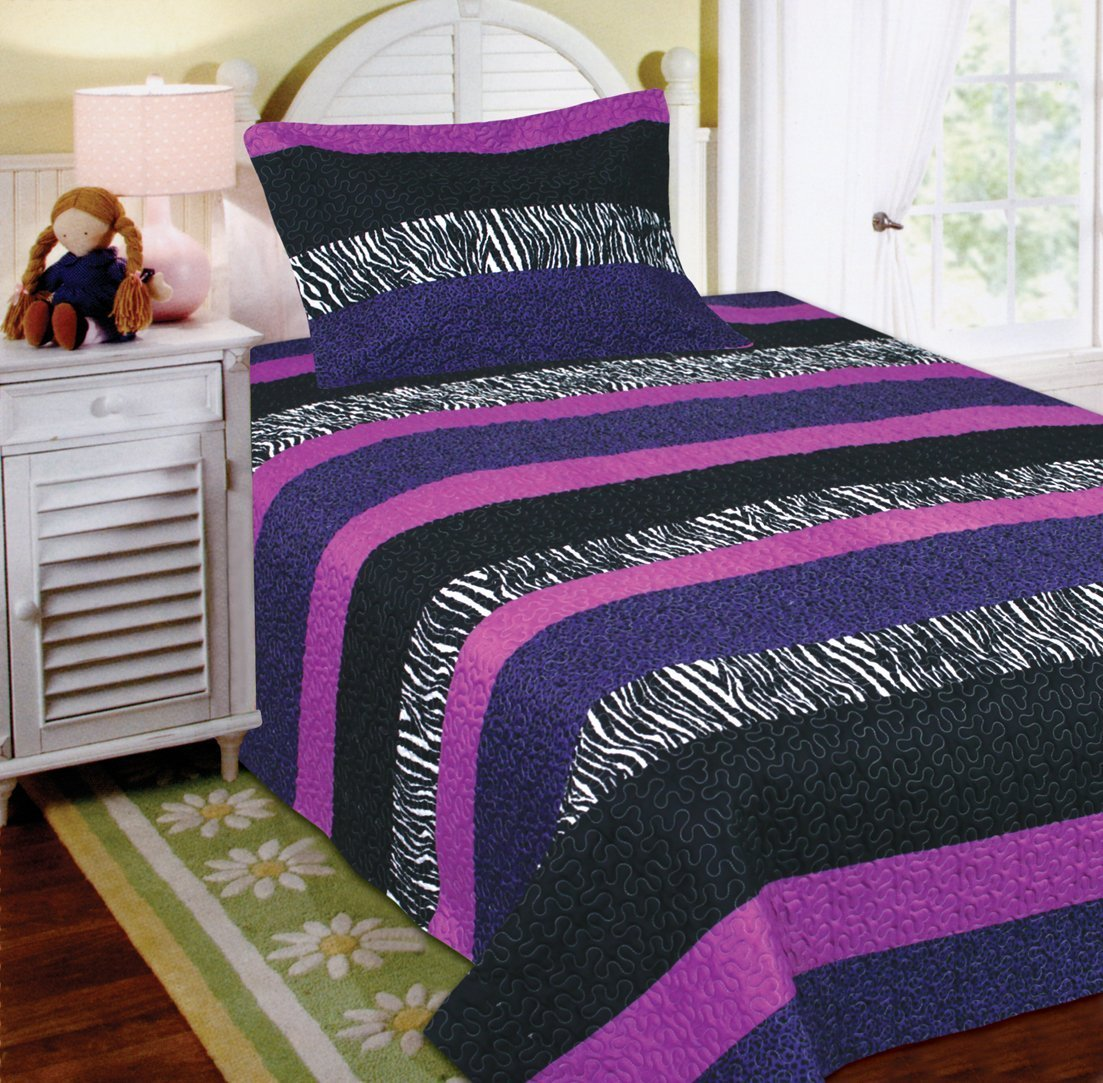 Fancy Collection 2pc Twin Size Quilted Bedspread Set Stripped Zebra Print Purple Black White New
