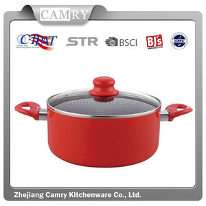Carbon Steel Red Color Dutch Oven with Glass Lid