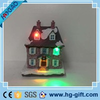 Custom christmas decoration european style resin village miniature house with light led