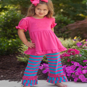 New coming kids clothing wholesale super pink top stripe multi color ruffle pants boutique elegant children's clothing