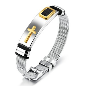 Marlary Silver Color Stainless Steel Handmade Bangles Stretch Mesh Cross Men'S Bracelets And Bangles