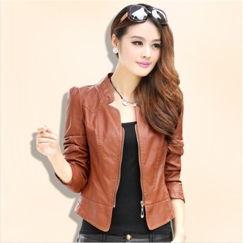 2015 New Fall XXL PU Leather Jacket Short Slim Washed Women Leather Motorcycle Lady Mandarin Collar Coats