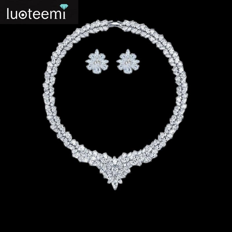 LUOTEEMI Brand New 2015 Wholesale Hot Sale Women AAA Zircon Big Heavy Pendant Clear CZ Bridal Luxury Wedding Jewelry Sets фото