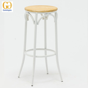 Replicate metal bentwood bar stool with timber seat