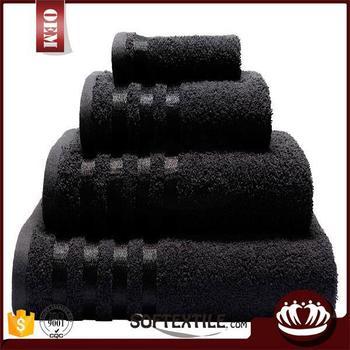 100 Cotton Plain Dyed Whole Black Bath Towels