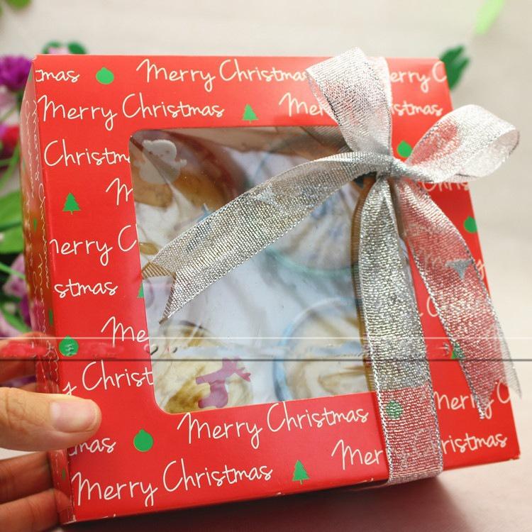 Милый Рождественский капкейк, бумажный торт, складная коробка