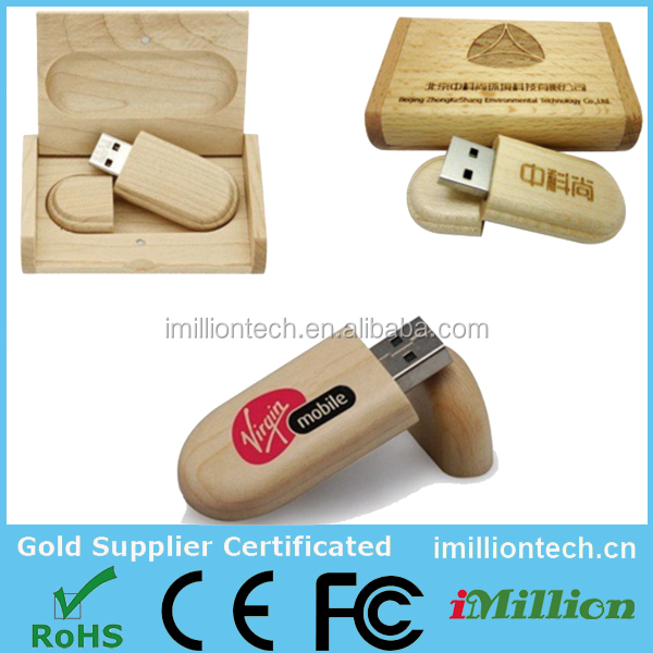 Hot Sale Wooden USB flash drive pen drives Maple wood+Packing box 4GB 8GB 16GB 32GB memory stick gift