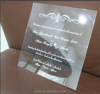 Handy Transparent Plexiglass Wedding Invitation Cards Wedding